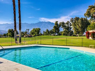 Dog-friendly home w/ a patio & shared pool plus fairway & mountain views