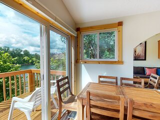 Top-floor of riverfront home w/ wraparound deck, free WiFi, & great location!