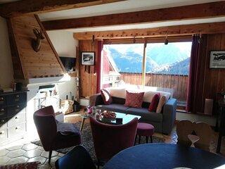 Charmant 2pièces mezzanine pour 6 dans hameau typique montagne à Pra Loup