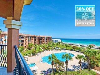Beach View *Resort, Pool/Hotub, FREE Beach Service, Perks, $100LiveWellCredit
