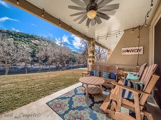 Spacious, ground floor, upscale and gated on the Guadalupe River! Pool!