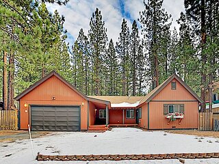 Classic All-Season Lake Tahoe Cabin with River Rock Fireplace & Private Yard