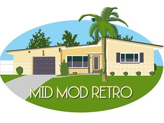 Mid Mod Retro home Bellaire beach bike trail near St Pete Clearwater Tampa area.