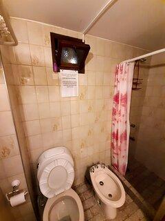 baño con bidet y ducha con extractor de aire