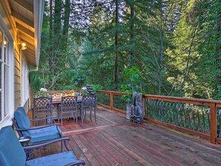 Riverfront Cottage in Redwoods w/ Decks + Beach!