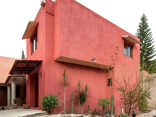 Beautiful typical house of adobe, cedar wood and quarry