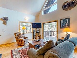 Serene, dog-friendly cabin w/ a private hot tub, a wood stove, & free WiFi