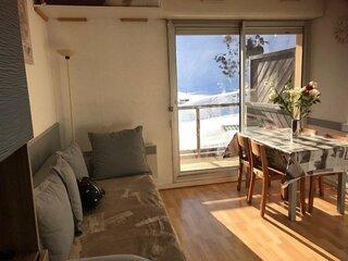 Studio cabine 4 pers, résidence Face Sud-parking couvert