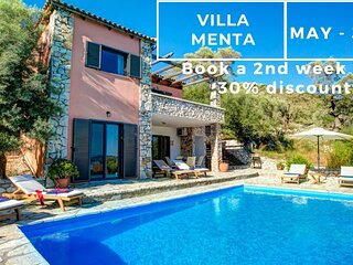 Villa Menta - Sivota Lefkadas - 3 bedrooms, private pool, sea view & BBQ