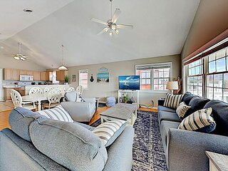 100 Yards to Beach! Fish N Hooks | Spacious Retreat with Ocean-View Porch