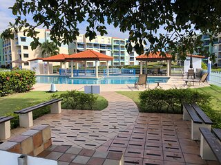 Haciendas del Club 1-108 very private beachfront garden condo, WiFi, full A/C.