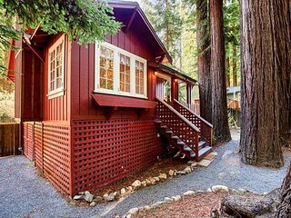 Redwood Retreat! Hot Tub! Walk to Beach/River!  Pet Friendly!