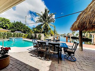 Canal-Front Tropical Retreat | Private Pool, Hot Tub, Dock | Near Beach