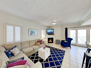 Sea Palms Condo | 2 Fireplaces, 2 Balconies, Rooftop Deck | 350 Feet to Beach