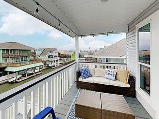 Spacious Canal Home w/ Balconies, Deck & Water-View Bar – Walk to Beach!