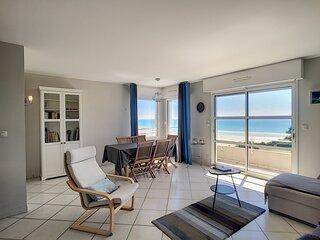 Splendide vue mer, 300m plage, balcon, 2/4 pers dans residence privee