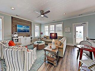 Chic Coastal Home with Pool, Multiple Balconies, Ocean Views | Walk to Beach!