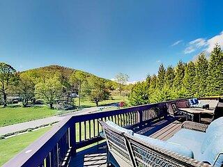 Spacious Mountain-View Retreat | Private Hot Tub, 2 Living Areas, Foosball
