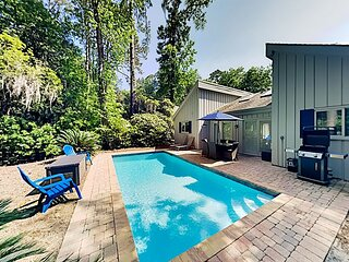Gated Sea Pines Home w/ Private Heated Pool & Large Patio, Near Beaches, Golf