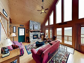 Mountain-View Scenic Wolf Home | Game Room & Fireplaces | Walk to Slopes