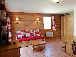 Grand studio 4 pax style montagne, avec balcon, au coeur des alpages, Pra Loup