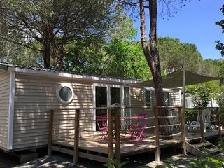 Well-kept mobilehome with combi-microwave, beach at 5 km.