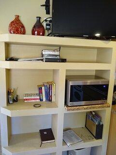 Microwave and shelf storage