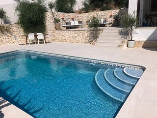 Large family villa with private pool and garden 5 minute walk to beach and town