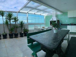 Cobertura Duplex  frente ao mar com amplo terraco gourmet