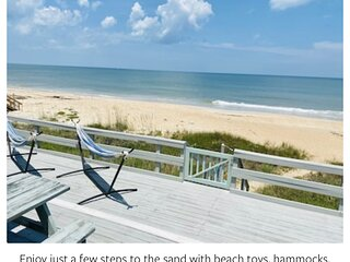 """Serenity Shores Oceanfront Private Home on 100"""" frontage. Deck/ 12 steps to sand"""