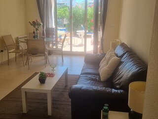 Two Bed Ground Floor apartment . Large terrace.. Close to shops and restaurants