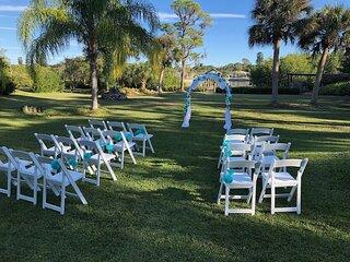 Shady Pines Weddings . Elopement Package 1.3ac seaside w dock, pool AC