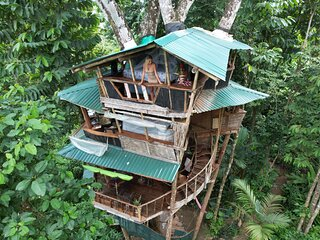 Corcovado Treehouse in Rainforest near remote Beaches sleeps 8 Guests