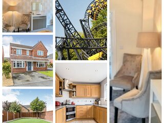 CENTRAL HOUSE,   Newcastle Under lyme.  WIFI, Free parking, 4 Bedrooms + 3 Bath