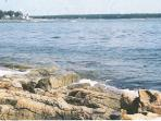 Picturesque rocky shoreline.