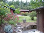 The back yard of Island Views is private and enclosed.