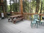 Back deck area facing the Payette River