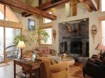 Access to the back patio is off the living room with amazing views of the Bridger Mountains