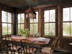 Dining area with views in three directions