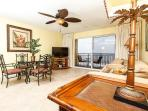 The patio is accessible from the living room for your convenienc