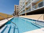 The beachside pool is heated in the winter and has enough deck space for all to enjoy a cool dip in the summer.