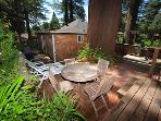 Fairy Circle Cottage, back patio, Dog Friendly Guerneville,