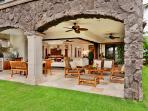 G102 Floral Gardens Large Fenced-In Grass Lawn Yard with Ultimate Indoor Living and Great Room. Enclosed Lava Rock...