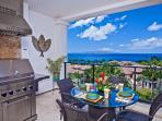 Grand Seascape K407 Stainless Steel BBQ on Veranda with Sunny Skies and Ocean Views!