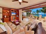 The Beautiful Great Room of A201 Royal Ilima - Looking Towards Wailea Beach. Live Plants, Custom Cabinetry, Down-Filled...