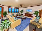 Regal Mandalay M511 - The Great Room Looking Out Over Wailea Beach and the Wailea Coastline - 65' Samsung HD TV...