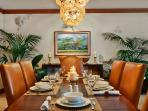 A201 Dining Table. This table seats 6 guests. Murano Glass Ceiling Chandeliers, Original Art, Pacific Rim and Tropical...
