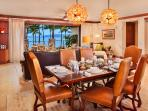 A201 Dining Table with Full Direct Ocean View. This table seats 6 guests. Murano Glass Ceiling Chandeliers, Original...