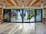 Wailea Sunset Estate - Hand-etched Sliding Glass Front Doors with Tropical Theme
