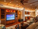 Wailea Sunset Estate Great Room Now with 3D 65' HDTV with HD digital programs, iPod Dock, HD DVR, Surround Sound...